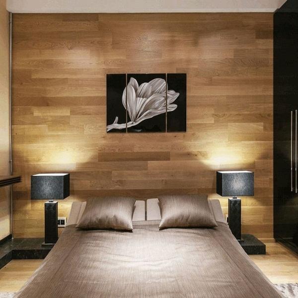 Шпонированные стеновые панели в спальню
